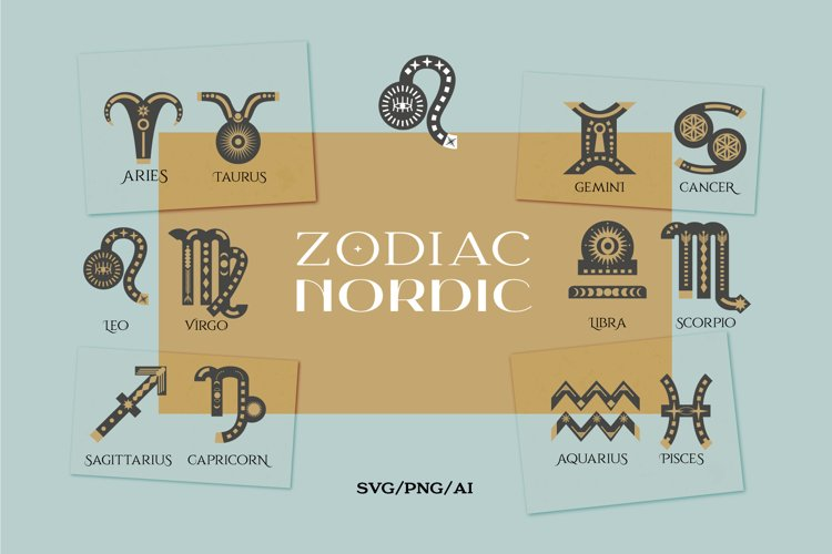 Zodiac signs. Astrology signs set example image 1