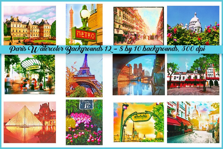 Paris Landmarks Watercolor Backgrounds example image 1