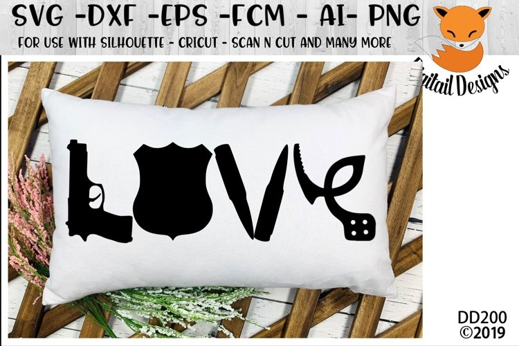 Police Love SVG - Silhouette - Cricut - Scan N Cut example image 1