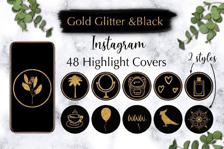 48 Gold Glitter Instagram Highlight Covers. example image 1
