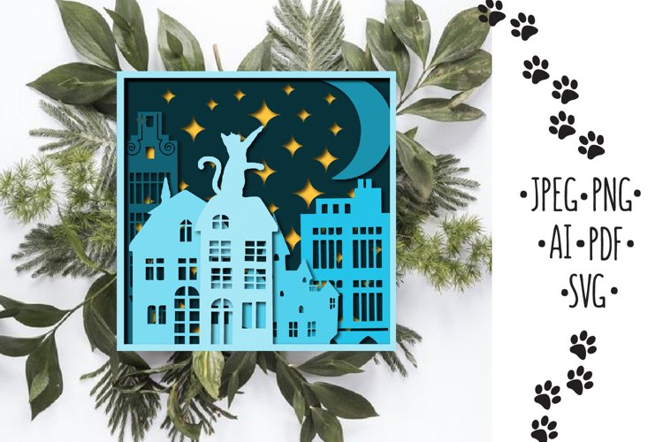 Papercut 3D Picture Cat and Moon Layered Design example image 1