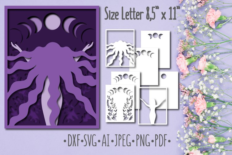 Papercut 3D Picture Moon Woman Layered Design