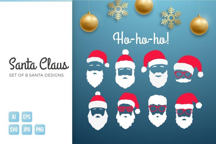Santa Claus 8 icon set. Christmas element.