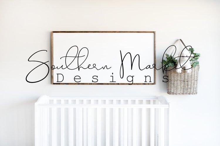 24x48 Nursery Sign Mock Up Wood Frame Styled Photography
