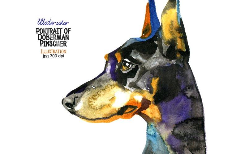 Watercolor Doberman Pinscher example image 1
