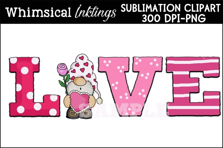 Love Gnome Sublimation Clipart example image 1