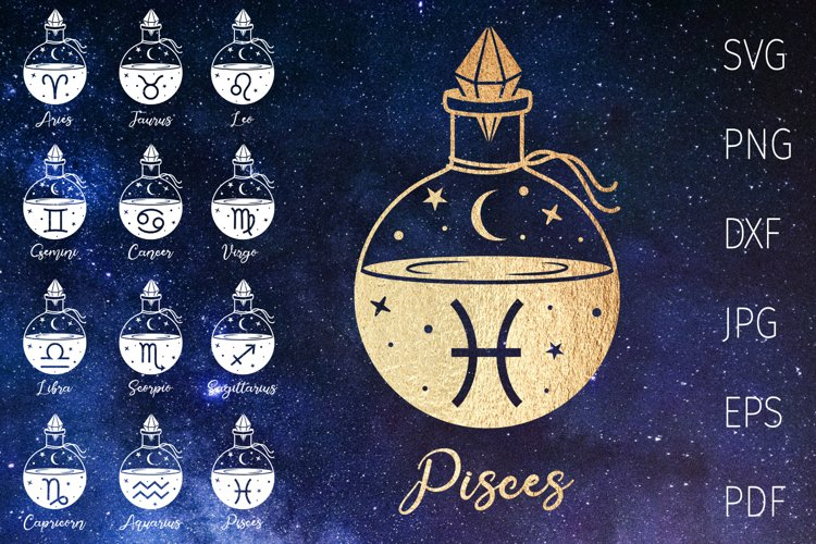 Zodiac signs svg bundle, horoscope, astrology svg witchcraft example image 1