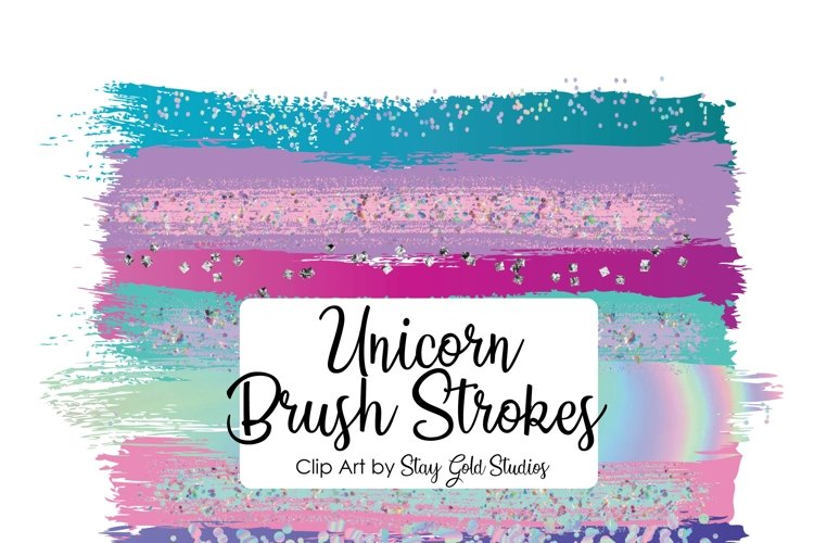 Unicorn Brush Strokes Clipart Pack example image 1