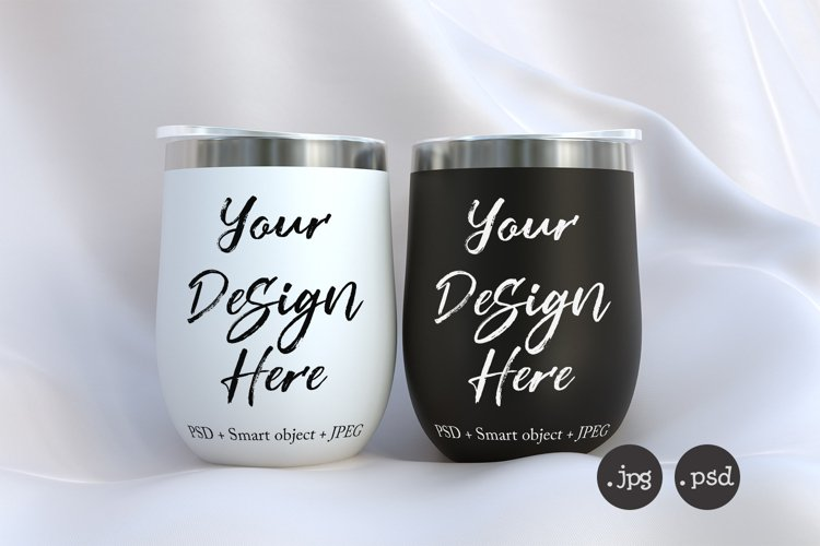 White and black wine tumbler mockup PSD smart objects example image 1