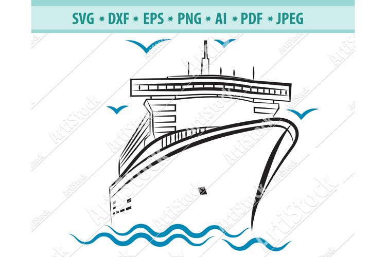 Cruise Ship SVG, Cruise SVG, Boat SVG, Ship Dxf, Png, Eps example image 1