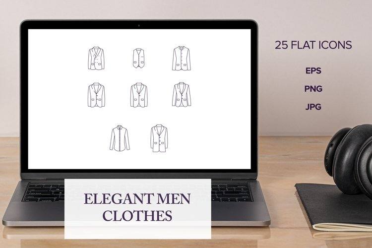 25 Outlined Elegant Men Clothes | Flat Icons | Vector files