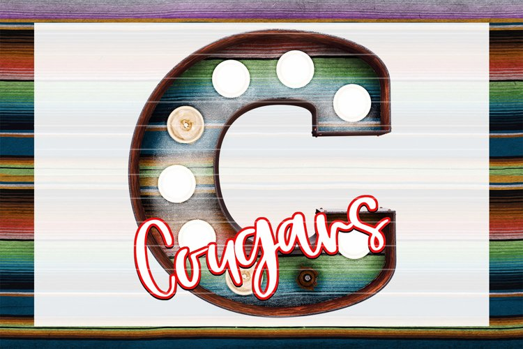 Cougars Serape Marquee Sublimation PNG example image 1