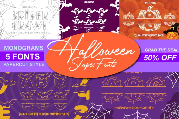 5 Halloween Fonts, Shapes and Monogram Style Pack