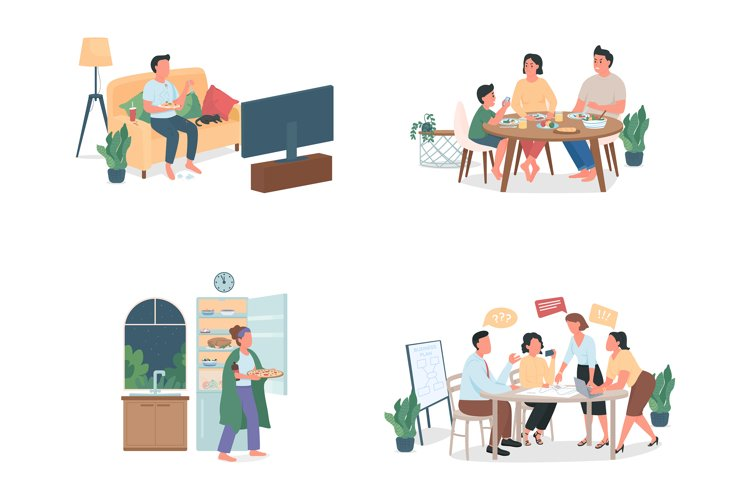 People with bad habits flat color vector character set example image 1