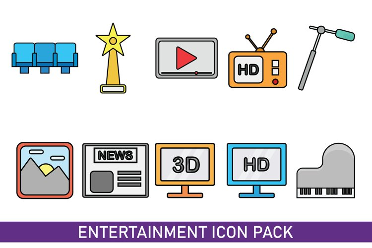 Flat Icon Pack Entertainment Simple example image 1
