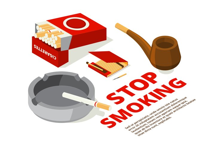 Concept illustrations of stop smoking theme. Various isometr