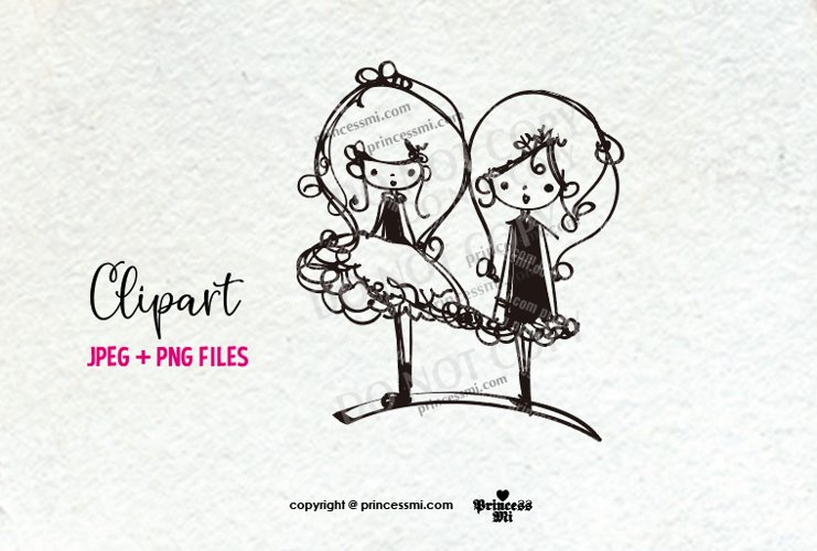 two girls clipart, cute doll png file, little doll kawaii