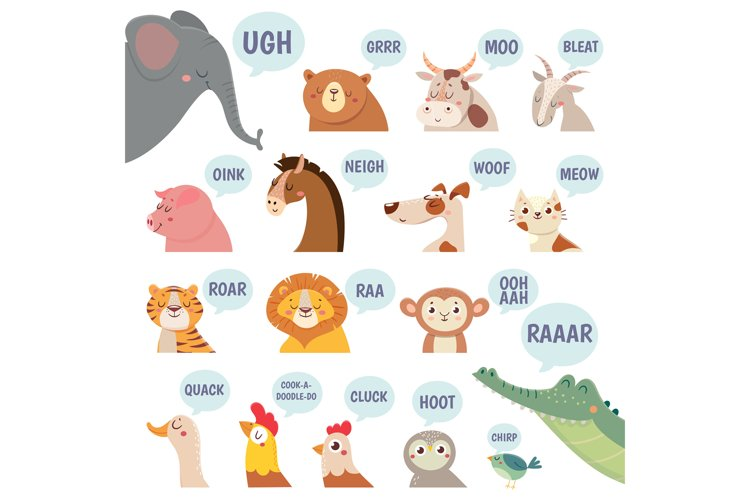 Animals sounds. Cute animal making sounds cat and dog, sheep example image 1