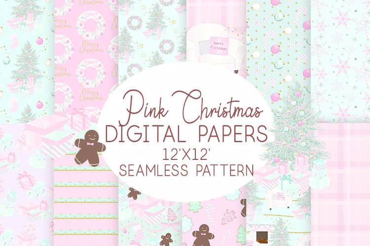 Pink Christmas Digital Paper Seamless Patterns example image 1