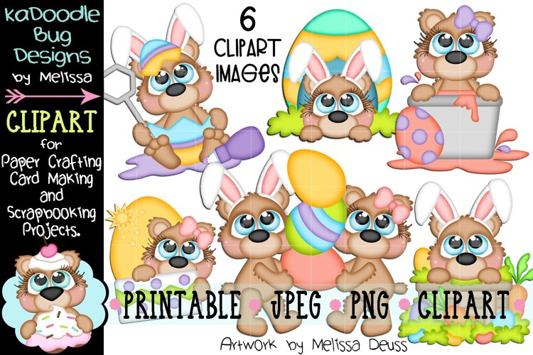 Easter Bears Clipart - 6 JPEG PNG Print Then Cut