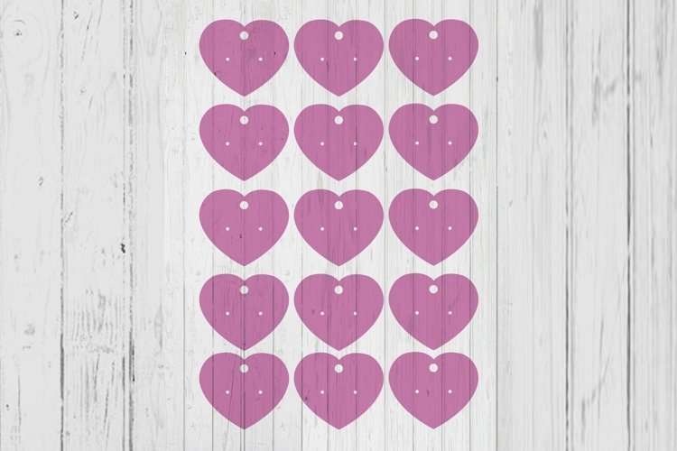 Heart earring cards template dxf svg png ai files example image 1