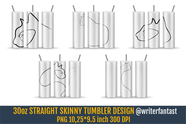 30 oz STRAIGHT Skinny Tumbler Sublimation. Silhouettes Cats example image 1