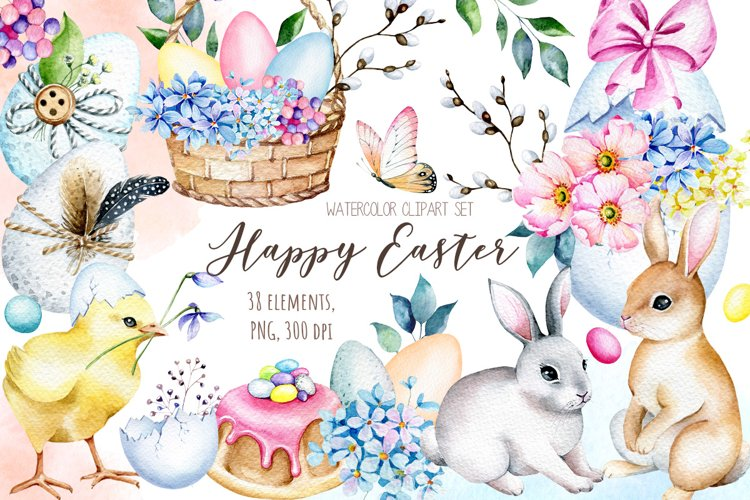 Easter Watercolor Bunny Clipart, Easter Eggs Clipart