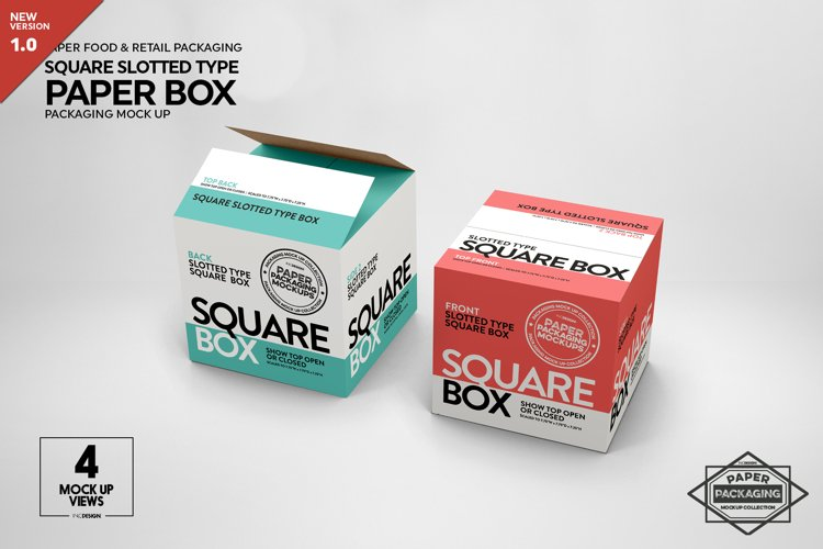 Square Slotted-Type Paper Box Packaging Mockup example image 1