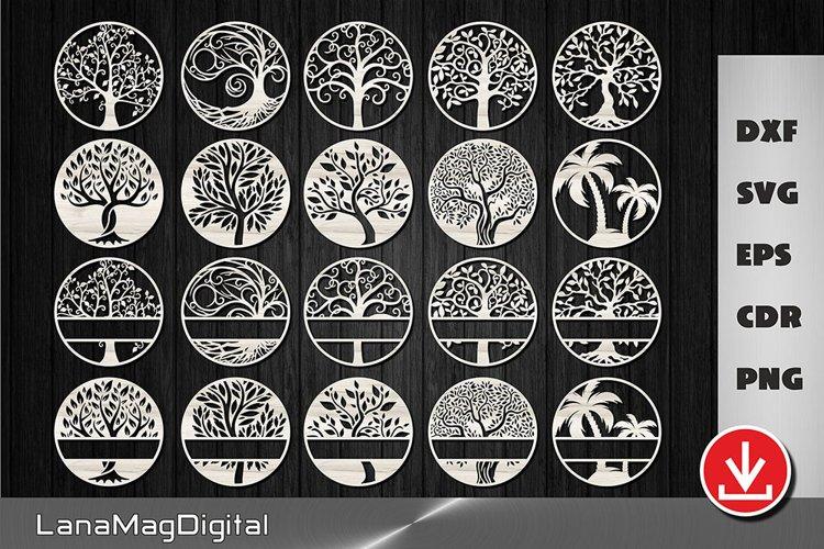 Tree of life svg dxf cut file Family tree svg Split monogram