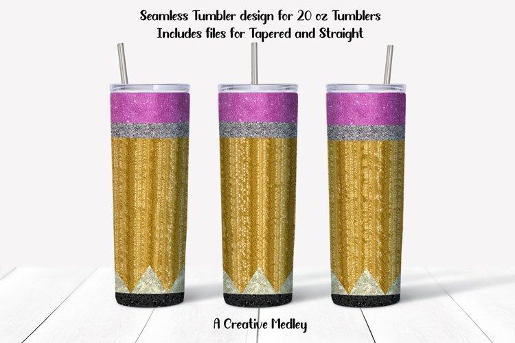 Seamless Glitter Pencil Tumbler Design - Straight &Tapered