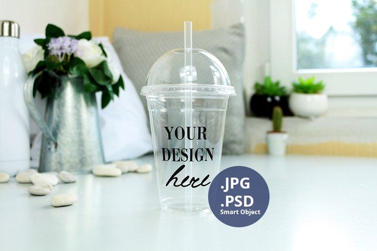 Clear Plastic cup mockup PSD, Acrylic tumbler PSD mockup JPG example image 1