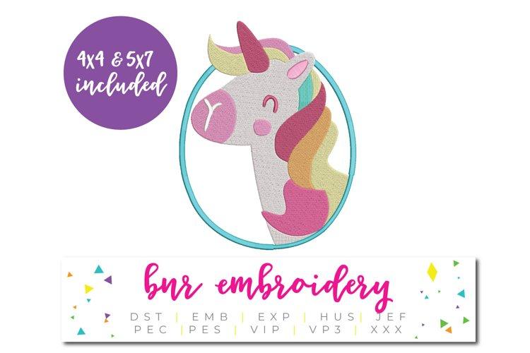 Unicorn Applique Machine Embroidery Design example image 1