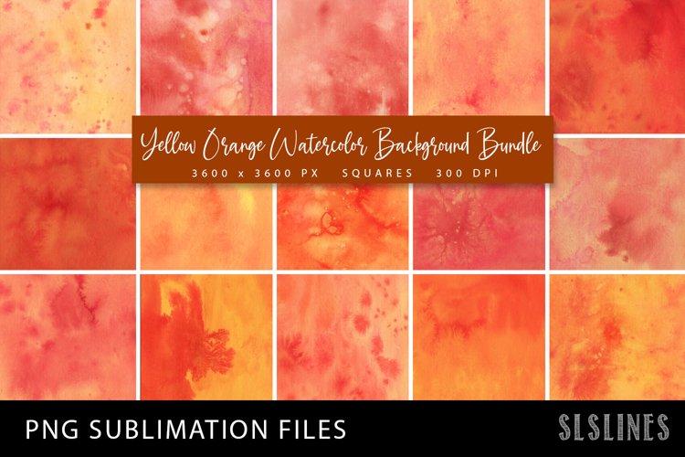 Yellow Orange Watercolor Squares Bundle PNG Sublimation