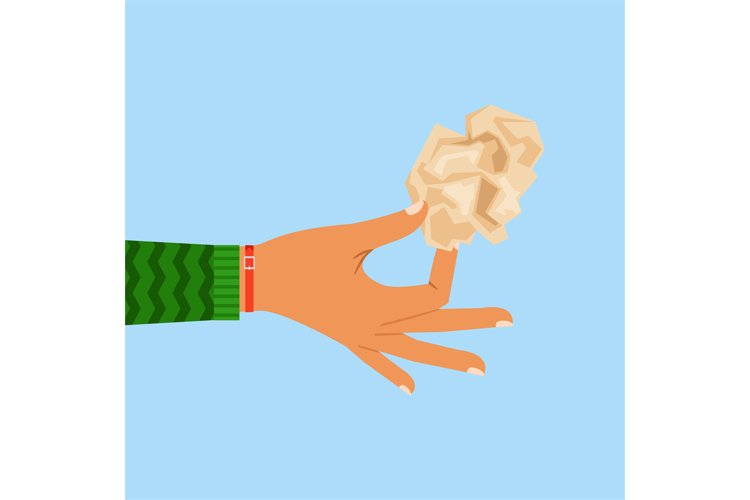 Woman hand holding crumpled paper sheet example image 1