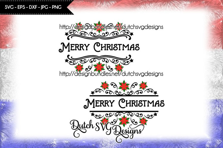 2 Split name cutting files, christmas svg, poinsettia svg example image 1