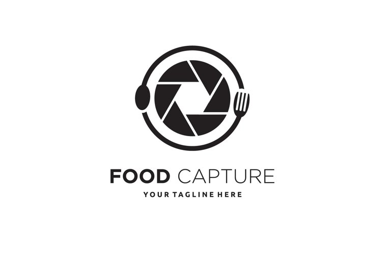 Lens with fork and spoon food logo design example image 1
