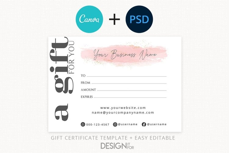 Gift Certificate Template Editable Gift Certificate