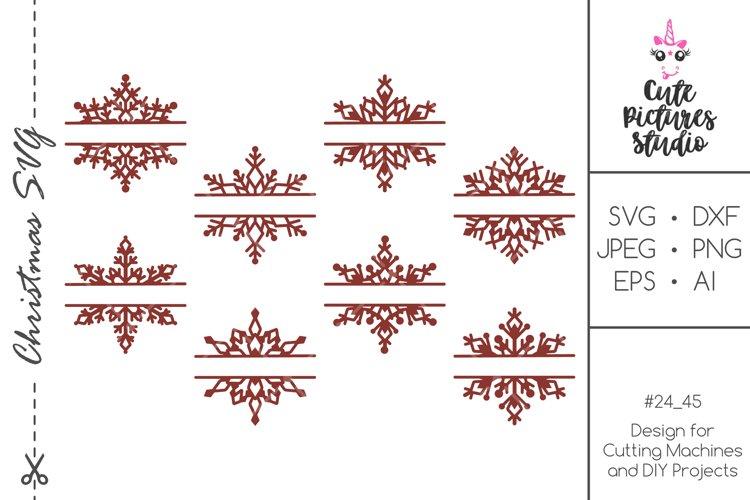 Christmas split monogram frame with snowflakes bundle SVG example image 1
