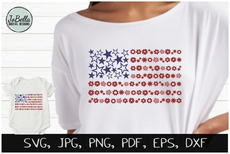 Flowers & Stars American Flag SVG & July 4th Sublimation PNG