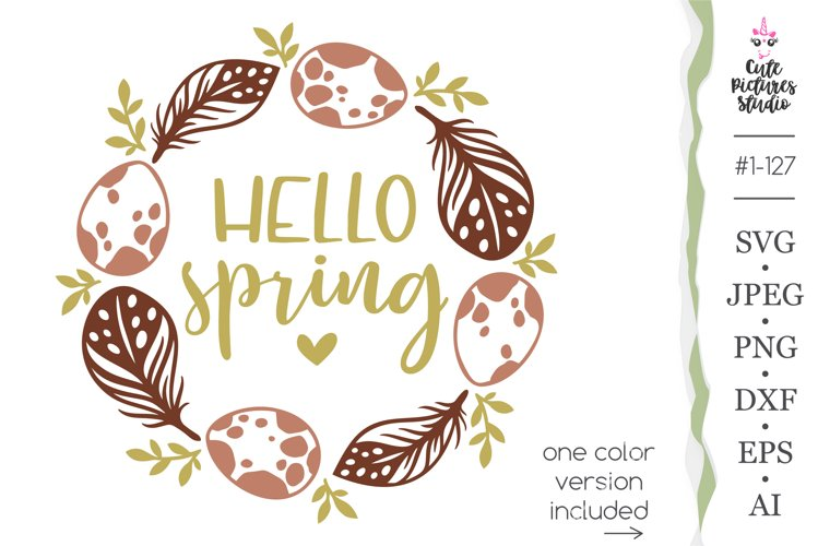 Hello spring SVG, Eggs and feathers frame Cricut SVG png