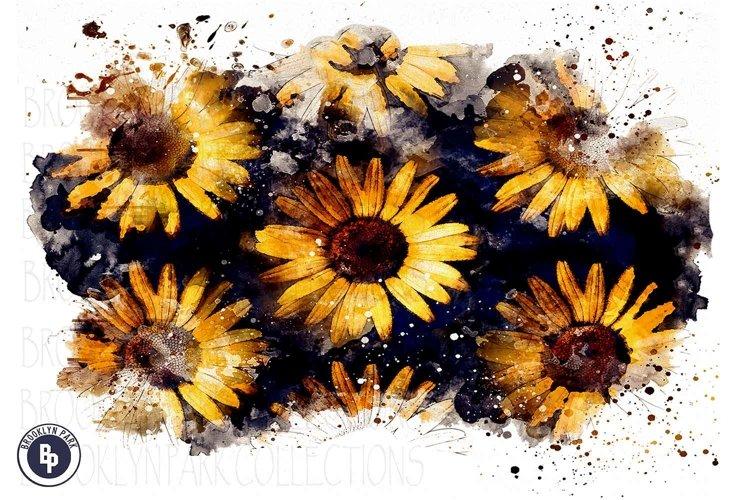 Watercolor Sunflowers Art Design, Sublimation PNG