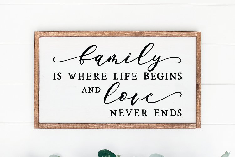 Family is where life sign svg - farmhouse home sign svg example image 1