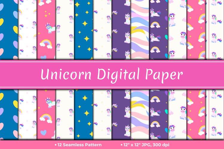 Cute Unicorn Digital Paper
