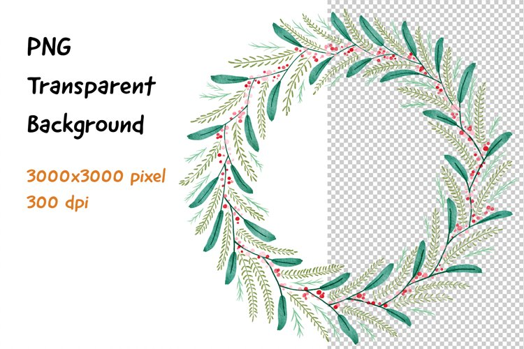 Wreath Frame Watercolor PNG and JPEG example image 1