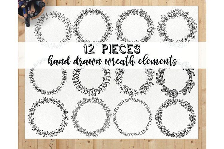 Hand drawn wreath clipart set - doodle wreath clip art