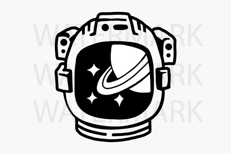 Astronaut Helmet with Saturn and Stars - SVG/JPG/PNG Hand Drawing
