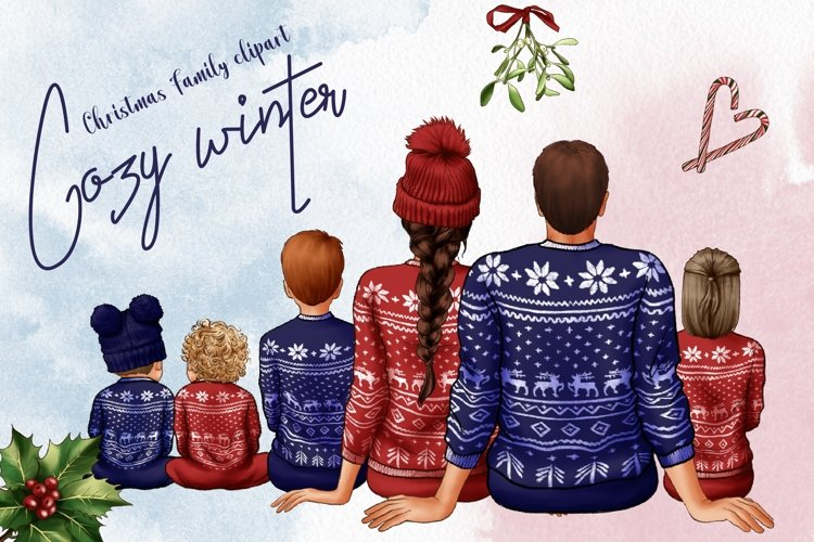 Christmas Family Clipart, Cozy Winter Clipart