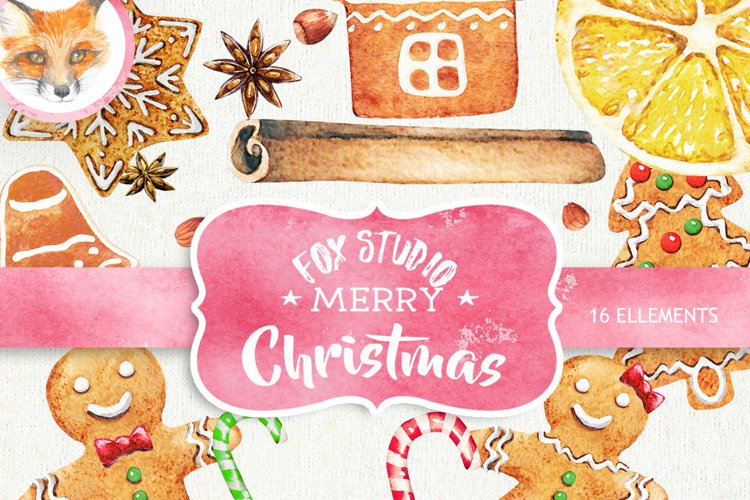 Watercolor Christmas Gingerbreads, Candy Canes, Cookies example image 1
