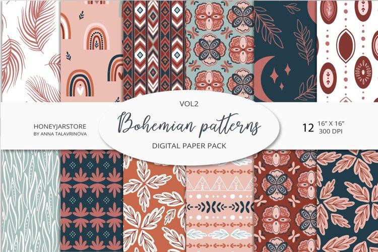 Boho chic digital paper set, bohemian seamless patterns pack