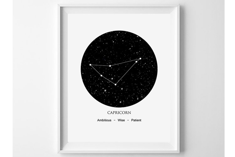 Capricorn Wall Art, Constellation Print